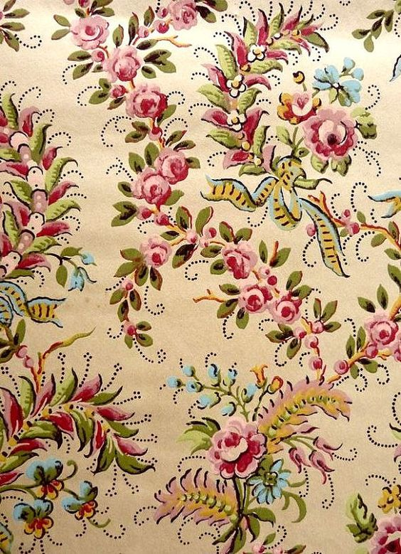 1920s wallpaper vintage french pochoir guashe printed for Pochoir technique