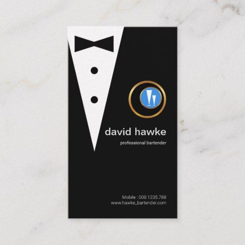 Chic Black Tuxedo Gold Boutonniere Bartender Logo Business Card