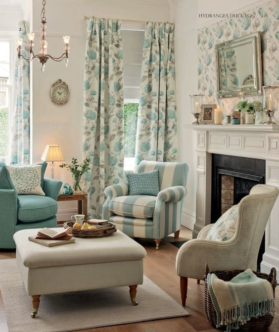 Laura Ashley blue living room. White walls, floral curtans with blue accents in them and blue and white striped chair