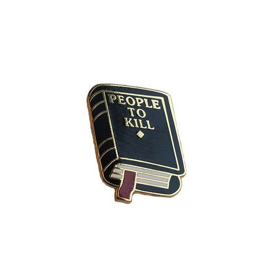 """Explorer's Press 1"""" brass lapel pin, based off our """"People To Kill"""" notebook! $5 USD."""