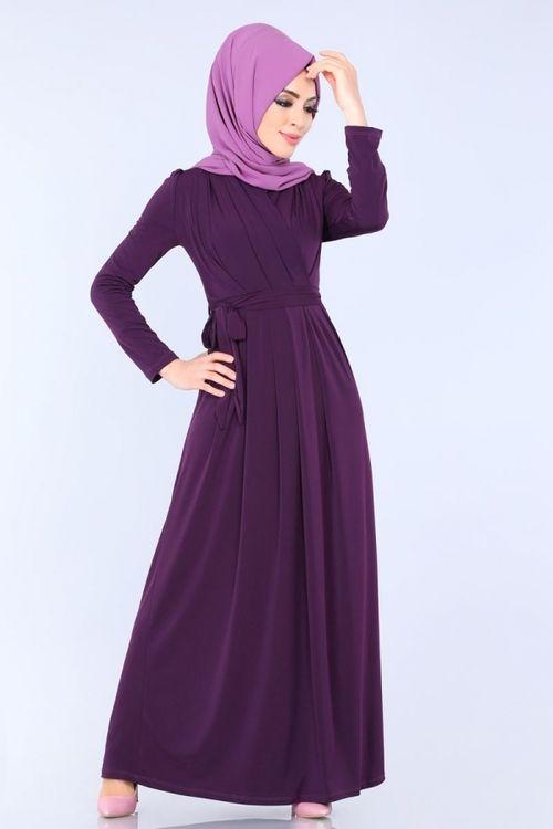 Modaselvim Elbise Kruvaze Detay Elbise Ukb1061 Mor Dresses High Neck Dress Neck Dress