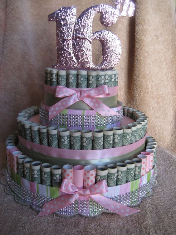 Out money cake quot 16th birthday quot unique gift made with real money