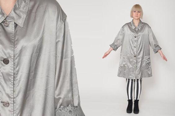 1990's Silver Trench Coat  Vintage 60's A Lined Formal by mijumaju