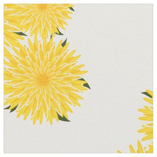 bunch of sunny yellow dandelions custom pattern fabric by katzdzynes