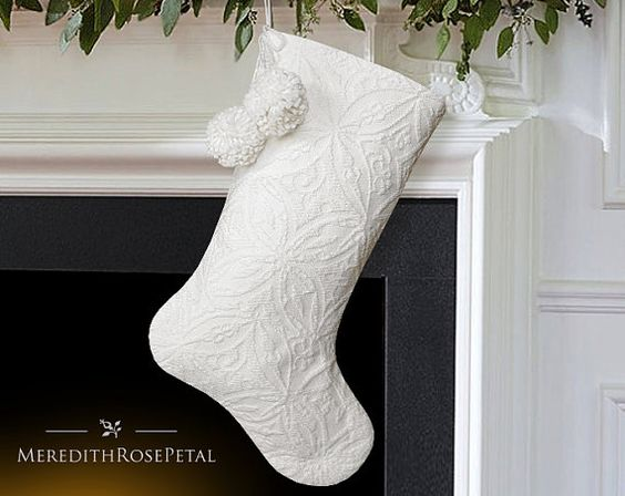 White Christmas Stocking, White Stocking, White Christmas Stockings, White Stockings, White Matelasse Stocking: