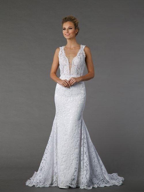 Pnina tornai v neck sheath gown in lace kleinfeldbridal for Pnina tornai wedding dress cost