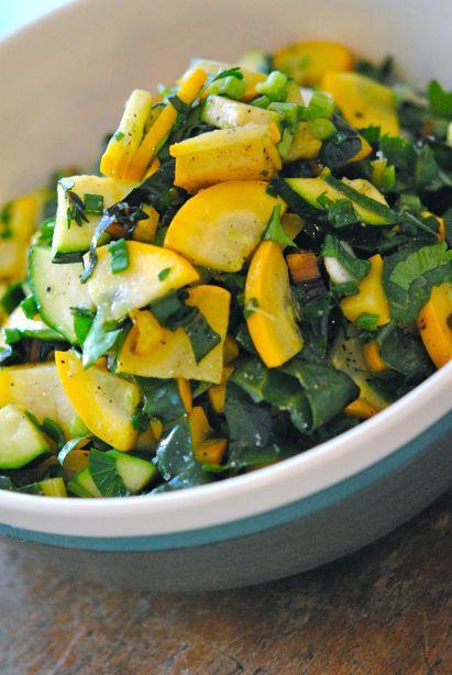 Pâtes d'été à la courgette, bette à carde, persil, thym frais et citron   Brutalimentation