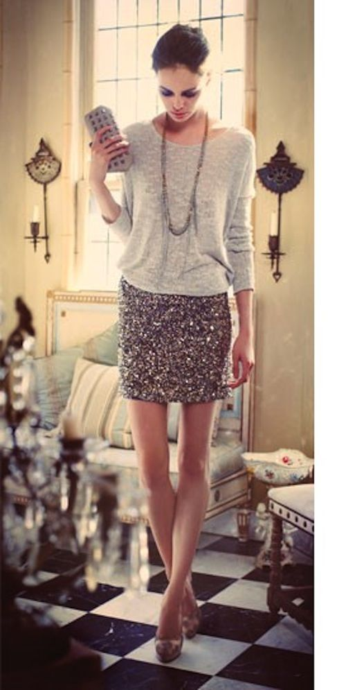 sequined skirt, grey sweater, studded clutch, going out outfit: