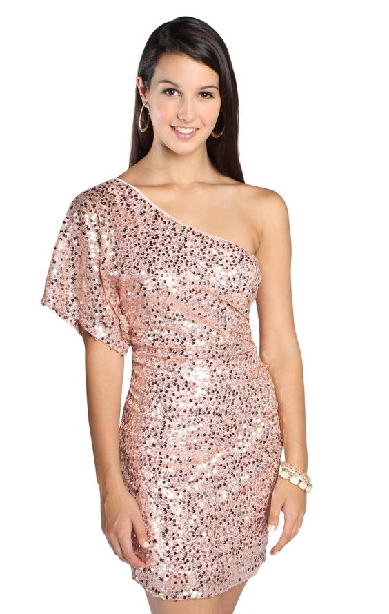 one shoulder all over pink sequin homecoming dress- NYE