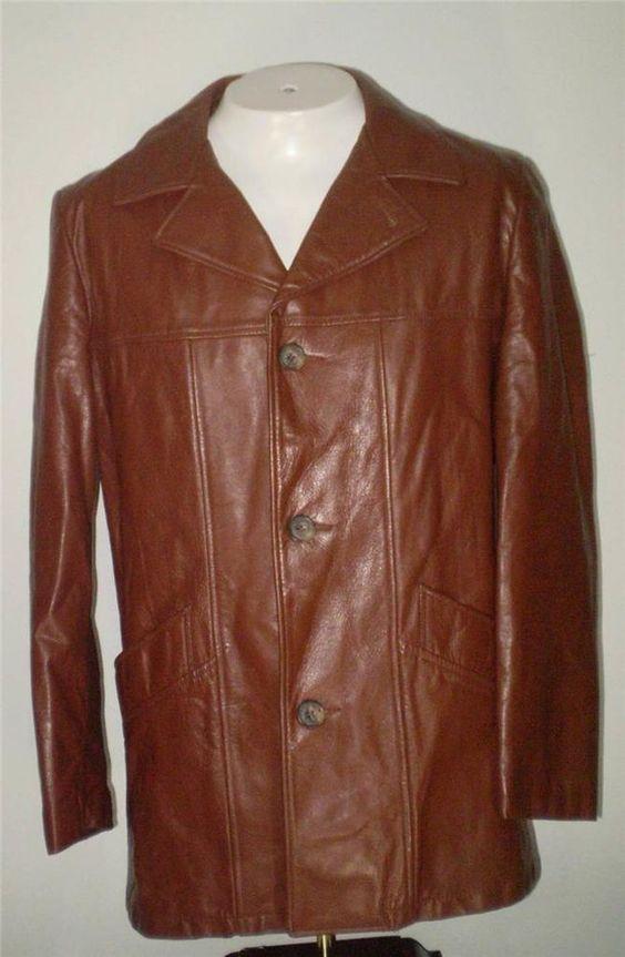 Mens Vintage London Fog Leather Car Coat Walking Coat Brown Zip