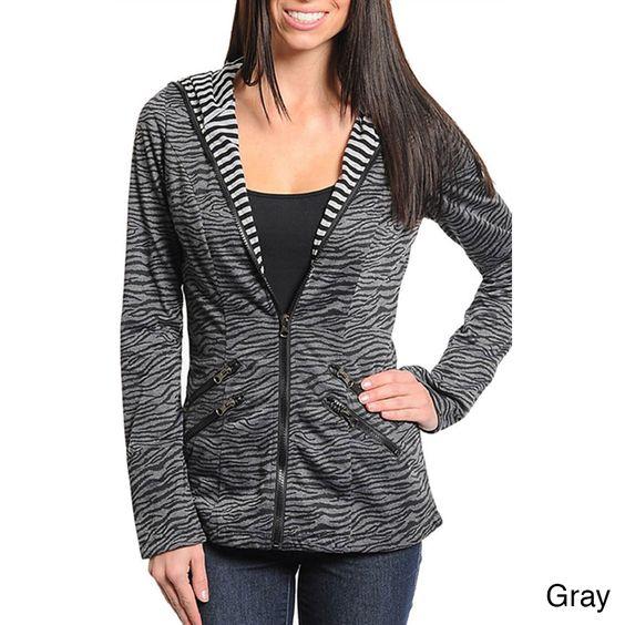 Stanzino Women's Animal Print Zip-up Hooded Jacket   Overstock.com