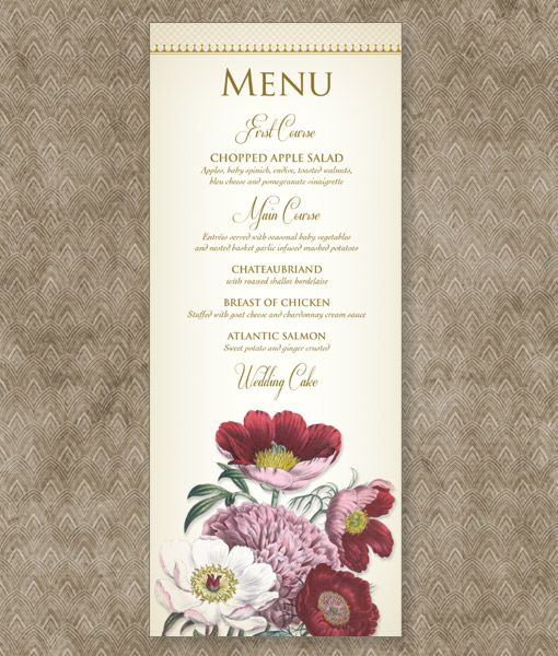 Event Menu Template Watercolor Flowers Menu Template Watercolor - event menu template