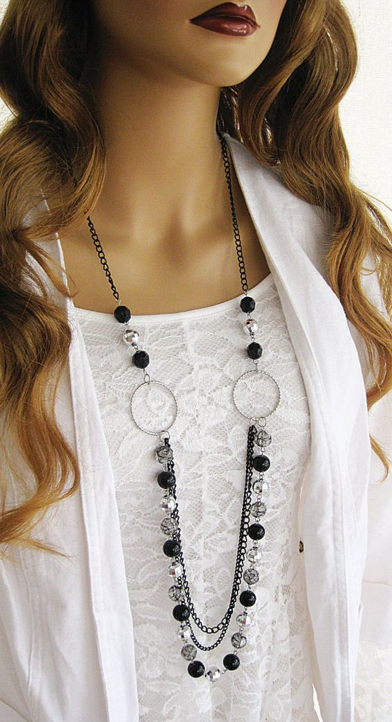 Long Black Beaded Necklace Long Silver and by RalstonOriginals