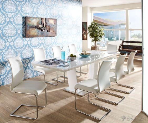 esszimmer ideen möbel-design auszugstisch-yemon weiße stühle