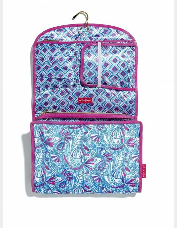 Lilly Pulitzer for Target Valet My Fans Cosmetic Bag Hanging Makeup Blue NWT #LillyPulitzerforTarget