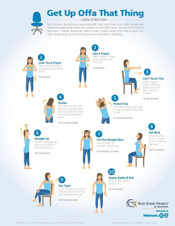 If you sit at a desk all day, great stretches you can do throughout the day.