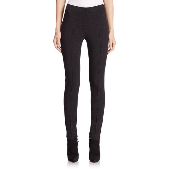Akris Punto Mara Jersey Leggings (574 CAD) ❤ liked on Polyvore featuring pants, leggings, apparel & accessories, akris punto, zipper pants, zip pants, akris punto pants and jersey pants
