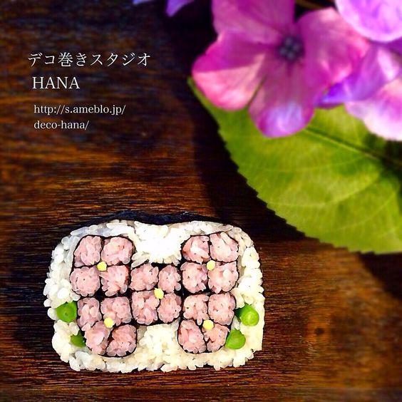 『あじさい2015』の飾り巻き寿司  葉っぱはいんげんです◡̈♥︎
