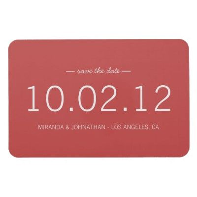 #wedding Red Bold Date Save The Date Magnet