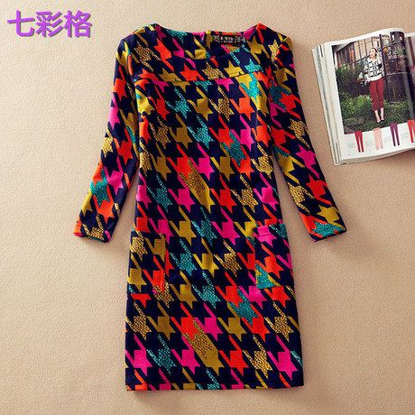 Vestido feminino de primavera e inverno com estampa vestido de inverno tamanho extra coleção 2014 M, G, GG, GGG, 4G, 5G em Vestidos de Roupas e Acessórios no AliExpress.com | Alibaba Group