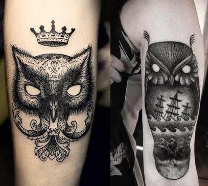 Tattoo de coruja preto e branco