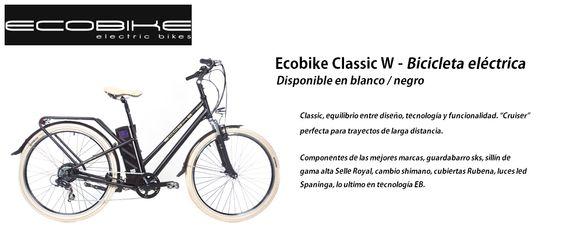 ECOBIKE Bicicleta eléctrica modelo Classic W (blanco o negro) http://www.materialdirecto.es/es/bicicletas/64545-ecobike-bicicleta-electrica-classic-w.html
