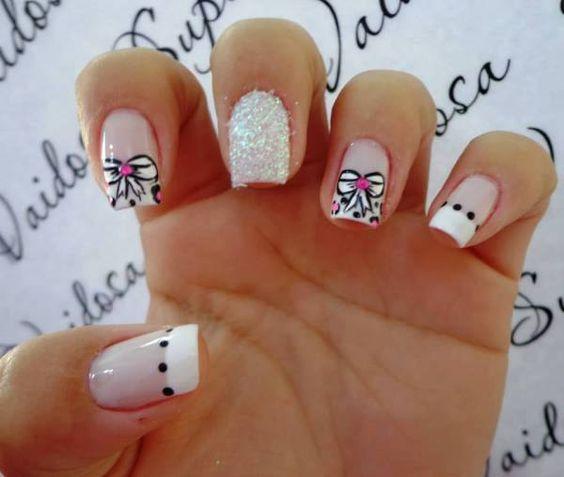 unhas, lacinho, nail, art, francesinha,