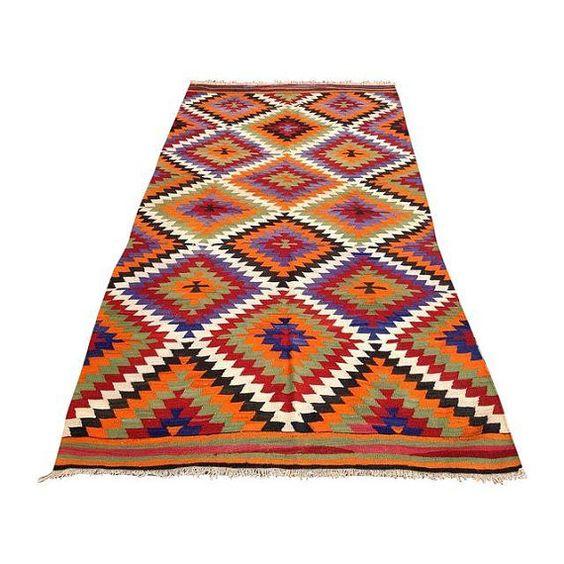 Orange and purple Diamond design, zigzag pattern, Turkish Kilim Rug, Flatwoven Kilim Carpet, Area Rug, designer pick rug, floor rug, vintage