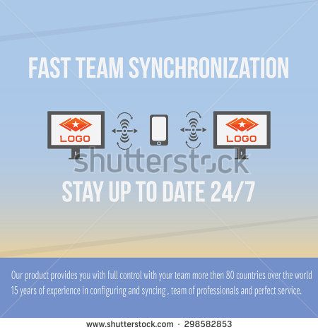 Corporate Data Synchronization Flat Design, email synchronization, mobile phone sync symbol