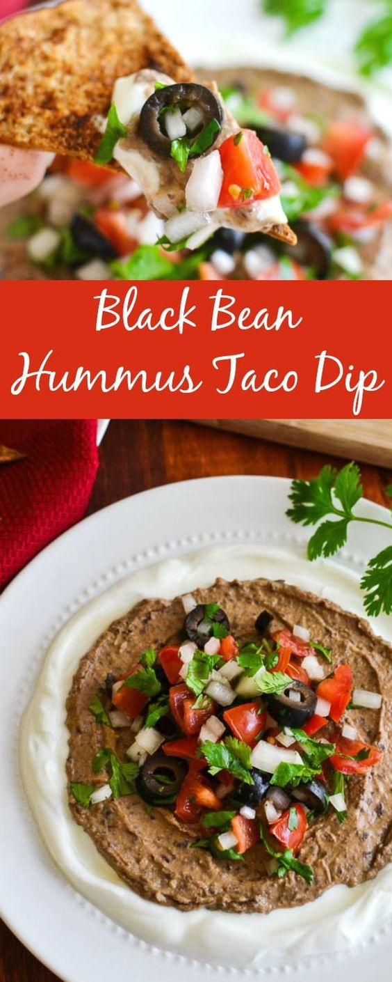 Spicy Black Bean Hummus Taco Dip with Pita Chips - a healthy Super Bowl party (or any party!) appetizer recipe. 21 Day Fix approved!