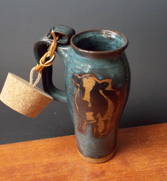 Stoneware Travel Mug With Cork  Cow Design  by ApplewarePottery