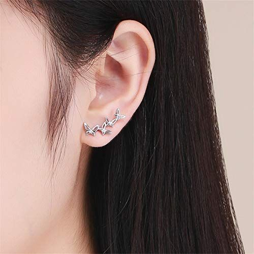 Sterling Silver Polished Star Ear Climber Crawler Earrings