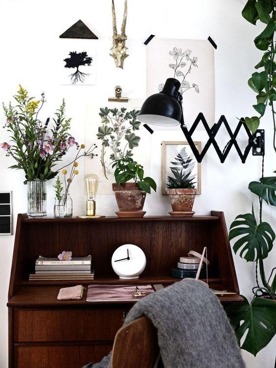 escritorio con plantas