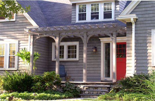 Pergolas, Pergola attached to house and Porches on Pinterest