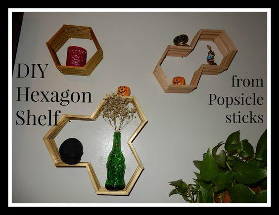 DIY Hexagon shelves made from popsile sticks; Kelsey's Craft Corner