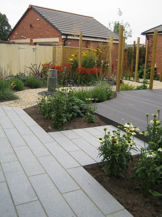 Gardens patio and grey on pinterest for Grey stone deck