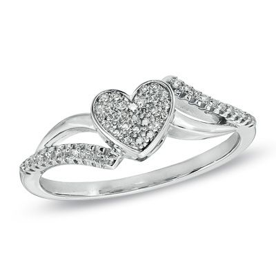 1/7 CT. T.W. Diamond Heart Bypass Ring in Sterling Silver - Size 7