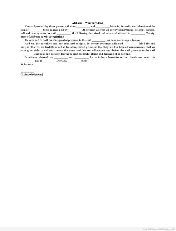 Sample Printable Alabama Warranty Deed Form  Sample Real Estate
