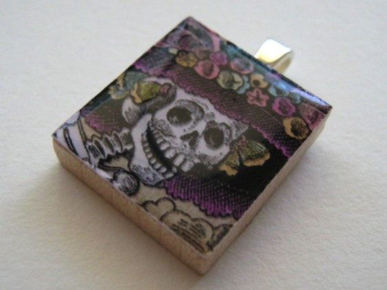 Dia de los Muertos - Day of the Dead La Catrina Skull - Scrabble Tile Pendant. $9.50, via Etsy.