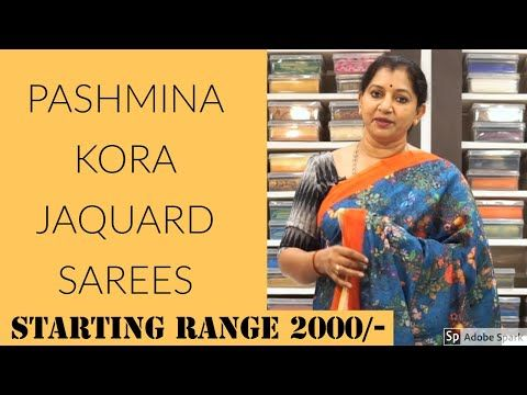 Pashmina Kora Jaquard Sarees Starting 2000 Episode14 Gayathri Reddy Traditional Designer Studio Youtube Saree Jaquard Pashmina