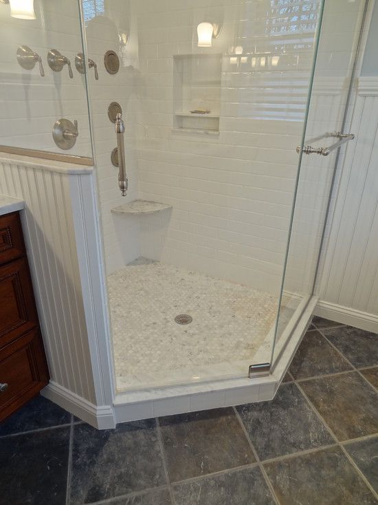 Small foot rest shelf in bathroom shower marble subway tiles bathroom pinterest shower - Small half bathroom tile ideas ...
