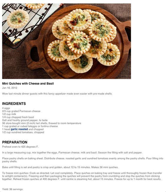 Mini Quiches w/Cheese & Basil