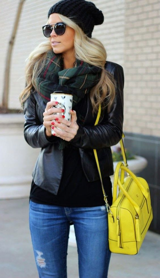 #street #style / leather + yellow color pop: