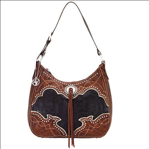 American West Leather Womens Hobo Shoulder Hand Bag Purse W/ Silver Concho #WomenGymBags