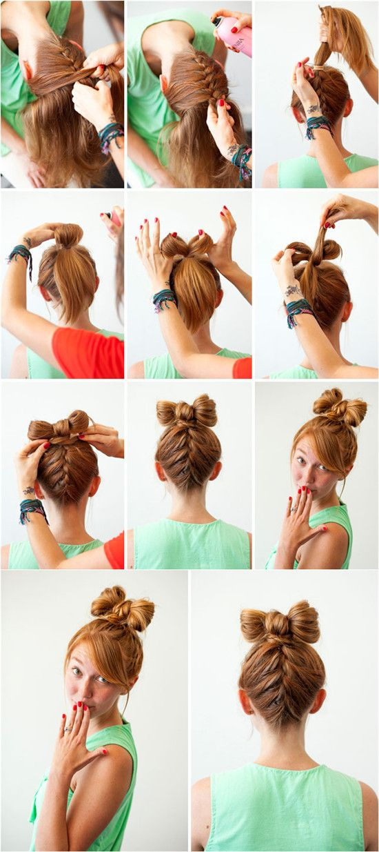 top braid hair bow tutorial for wedding with brown natural and cheap hair extensions clip on