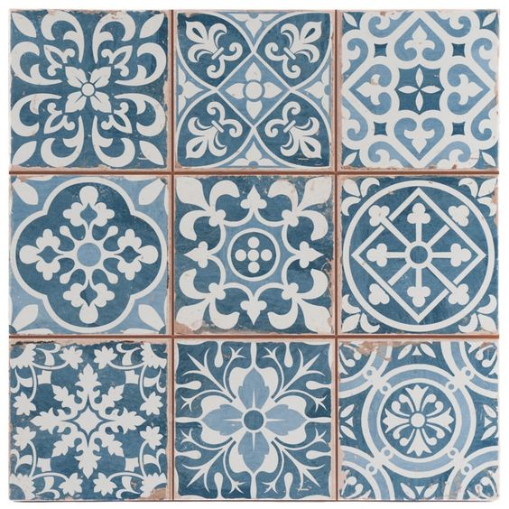 Tangier Blue Decor Tile 33x33cm, £24.42 per m2 or £2.66 per tile