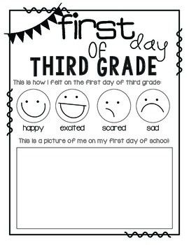 Printables First Day First Grade Worksheets first day of school third grade pinterest grade