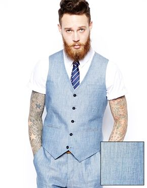 ASOS Slim Fit Suit In Blue Linen | Italian Wedding Vintage Groom