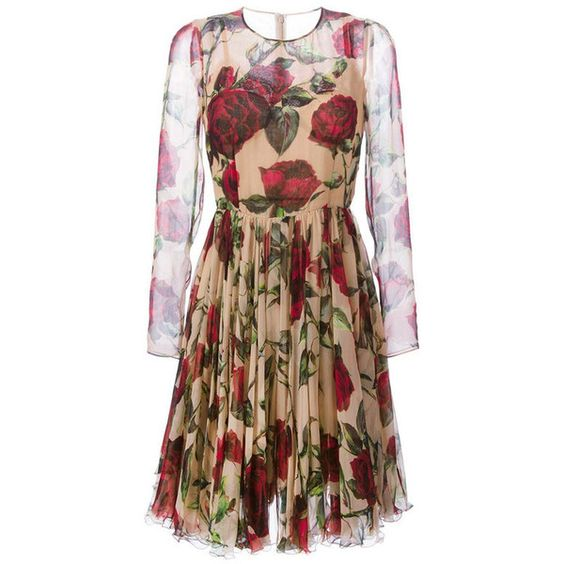 Dolce & Gabbana Rose Silk Chiffon Dress (€4.485) ❤ liked on Polyvore featuring dresses, neutrals, brown dress, long dresses, slip dress, floral print dress and rose dress