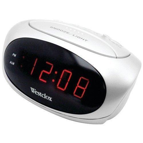 Westclox Electric White Digital Alarm Clock 9 Minute Snooze Soft